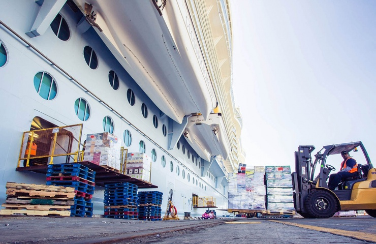 Cruise Logistics Vessel Loading with Forklift