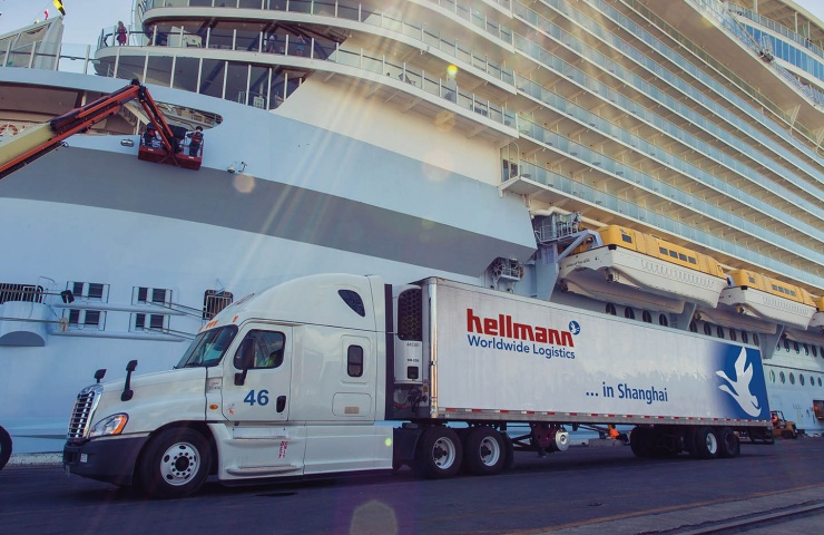 Cruise Logistics Truck in front of Cruise Ship