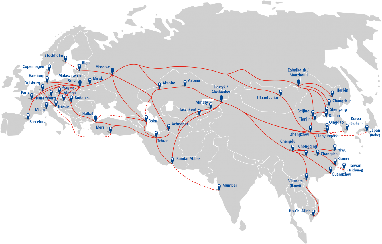 Route China Europe Rail Freight