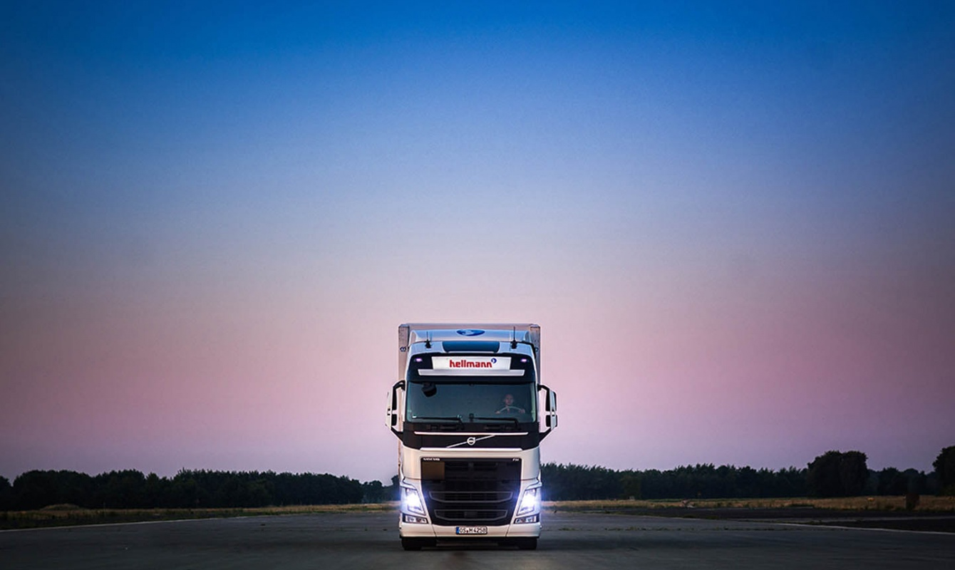 Truck on Road by Night East Europe